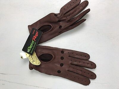 BR- Carlos Rossi NWT deerskin chestnut brown suede snap driving gloves-M/ 7.5