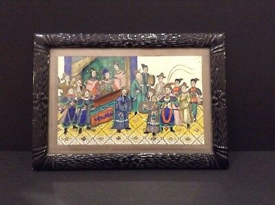 Antique 19Th Century Chinese Painting  On Pith/Rice Paper