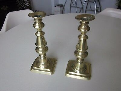 A Pair of Victorian Georgian Reproduction Brass Candlesticks