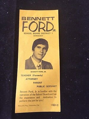 1978 Bennett Ford Jr Democrat Brevard County School Board Brochure