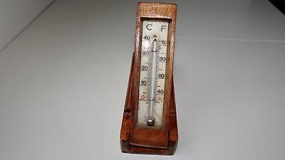 Antique PORTABLE THERMOMETER in HAND-Carved WOOD ORNATE CASE