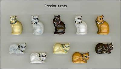 Miniature Porcelain, Precious Cat With Gold,emerald,diamond,sapphire,ruby Rare