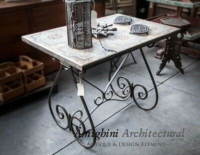 Antique Wrought Iron Coffee Table ,Majolica Top #3840