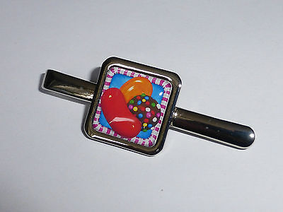 Unique! CANDY CRUSH TIE CLIP chrome COOL xmas DESIGNER fab gift NOVELTY gaming
