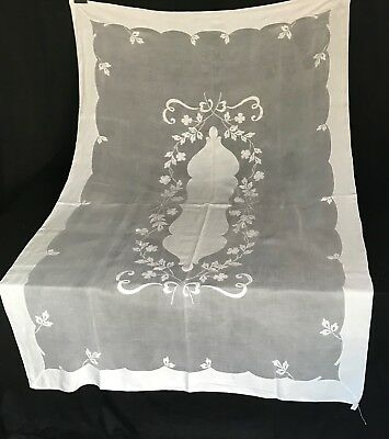 AZ- Antique Madeira applique & embroidered organdy tablecloth-Dogwood  64 x 100""