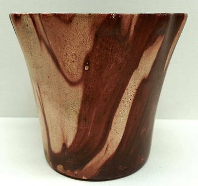 Vintage ROMCO Rocky Mountain Pottery Small Flower Pot, Faux Wood Grain