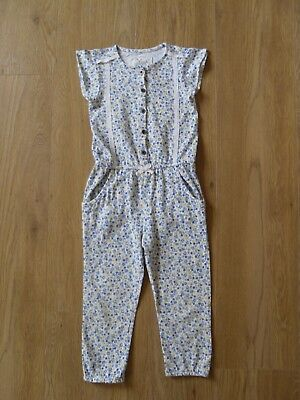 Girls Mothercare Yellow & Blue Floral Jumpsuit Age 3 Years