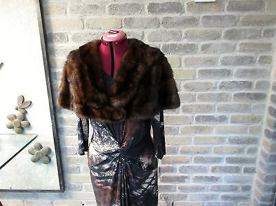 Authentic 50s. CANADIAN MINK Cropped Cape /Shawl collar Mahogany Fur  Cape Wrap