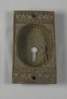 Antique Victorian Brass Eastlake Pocket Door Keyhole Cover Plate