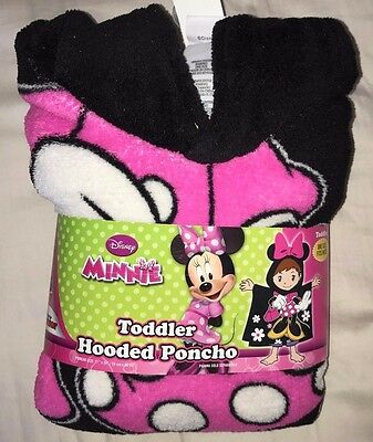 Disney Girls Minnie Mouse Toddler Hooded Poncho One Size Fits Most