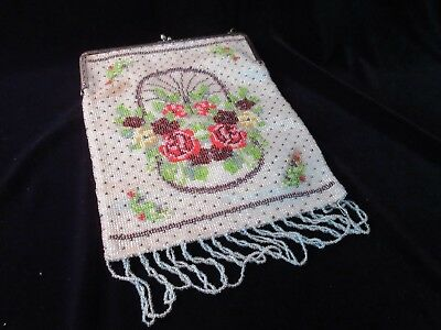 ANTIQUE 1920s? FLOWER THEMED MICRO-BEADED PURSE
