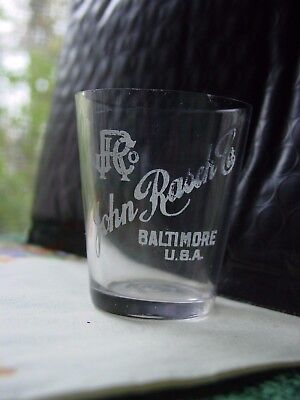 Antique Pre-Pro Etched Shot Glass for John Rasch Co. Baltimore, Md. U.S.A.