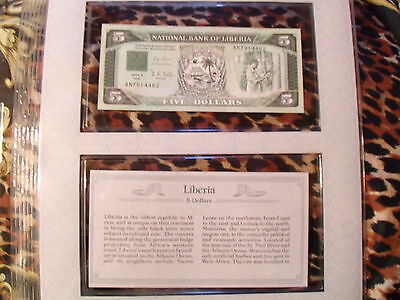 *Most Treasured Banknotes Liberia 1991 5 Dollars UNC P 20 prefix AN