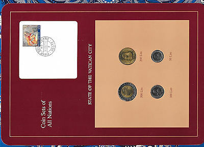 Coin Sets of All Nations Vatican UNC all 1990 500, 200, 100, 50 Lire