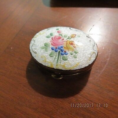 Victorian Small Metal Container pill perfume Floral Unmarked Vintage Antique