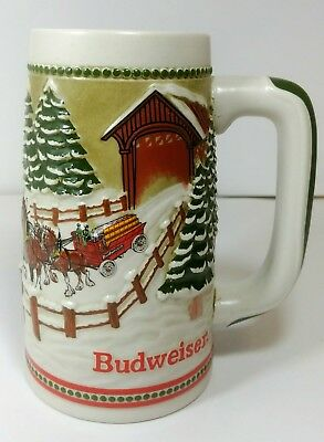 BUDWEISER HOLIDAY CHRISTMAS BEER STEIN MUG Clydesdales Snowy Covered Bridge