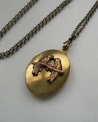 LOVE BIRDS Victorian Art Nouveau Style Sparrow VINTAGE LOCKET Necklace VALENTINE