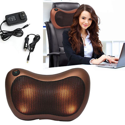 Shiatsu Pillow Massage Electric Heat Massager Neck Back Cushion Machine *UK*