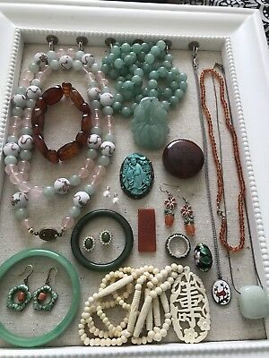 18 Piece Lot Of Oriental- Vintage Chinese & Other Stone Sterling Items