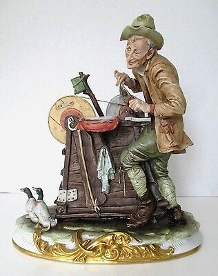 """COMPODIMONTE THE KNIFE GRINDER FIGURE Man Honing Sharpening Knives ~ 13"""" ~ ITALY"""