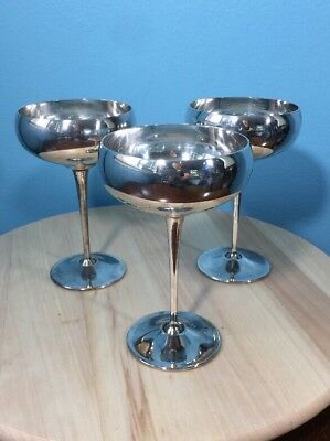 Goblet ~ Desert Cup EL de Elberti ITALY ~Silverplate ~ SET OF 3~SIGNED