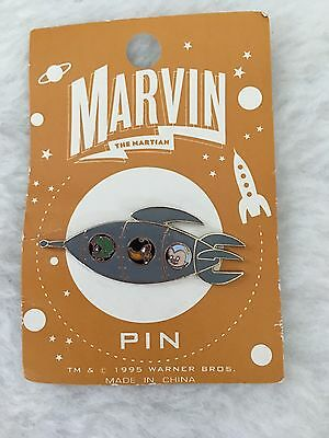 Looney Tunes Marvin the Martian Duck Dodgers Cadet Spaceship Pin New Rare Vtg