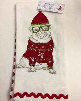 Pug Embroided Dish/hand Towels 2 Piece