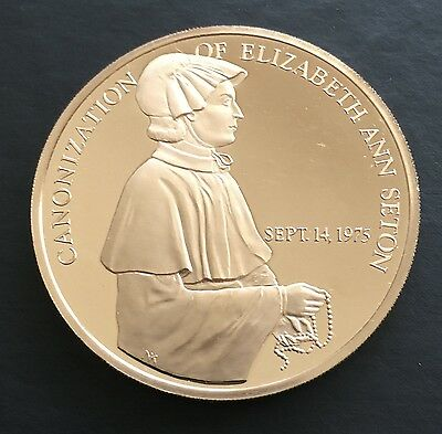 Proof 1975 Canonization Elizabeth Ann Seton FM Medal Founder Sisters of Charity