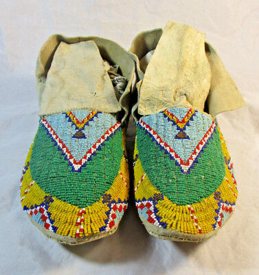 Early 1900's Fully Beaded Sioux Moccasins #1549