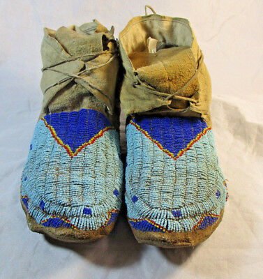 Circa 1890 Fully Beaded Sioux Moccasins #1551