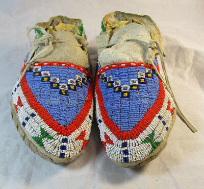 Circa 1920's Fully Beaded Sioux Moccasins #1116