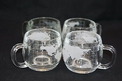 4 Nestle Nescafe Vintage Etched Glass Coffee Mug Cups WORLD GLOBE Map 1970s
