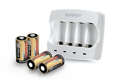 Tenergy Arlo Rechargeable Battery kit 4x CR123 rechargeable batteries + charger