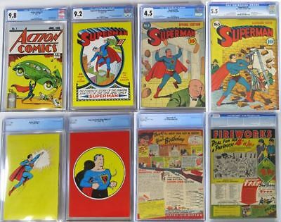 Action Comics 1 CGC9.8, Superman 1 CGC9.2, Superman 4 CGC4.5 & Superman 5 CGG5.5