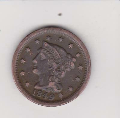 1849 LARGE PENNY 168 YEARS OLD  nice DETAIL  FREE SHIPPING
