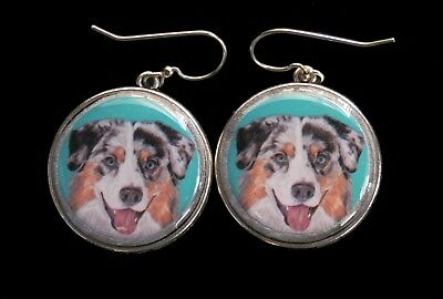 Australian Shepherd Original Art Earrings