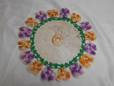 Old Vtg Handmade CROCHET DOLLY Dollie Doly Lace Linen Textile Decor Collectibles