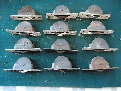 Lot Of 12 Vintage Antique Cast Iron Window Sash Pulley Weights Rollers