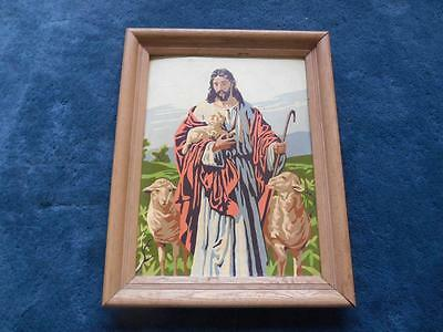 Old Vtg 1950s Religious Paint By Numbers Jesus Christ Lamb Of God Painting