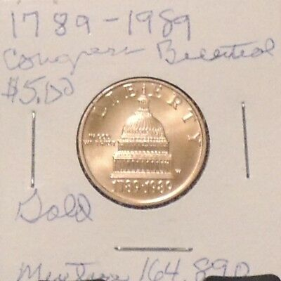 1989-W Uncirculated Congress Bicentennial Capitol Dome Eagle $5 US Gold Coin