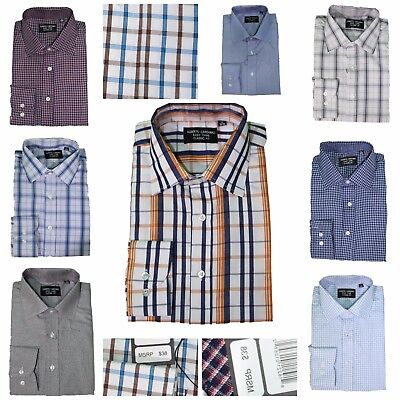 Men's Button Down Solid Dress Shirt Long Sleeve Cotton Blend W Free Mystery Tie