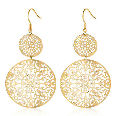 Retro Women Lady Gold/Silver Plated Round Hollow Flower Dangle Drop Earrings