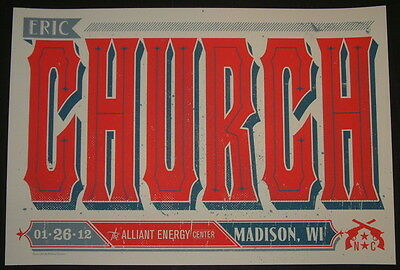Eric Church Madison Wisconsin Concert Tour Poster Print Keith Neltner 2012