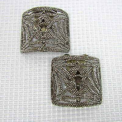 Pair of Vintage French Cut Steel Rivets Shoe Clips Made In France 2.5 W x 2.25 H