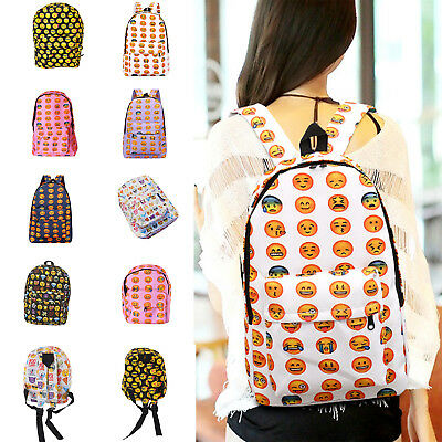 Emoji Backpack School Pack Bag Back Pack Satchel Shoulder Smile Face Smiley US