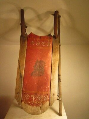 Antique South Paris Runner Sled with Indian Chief Stencil Barn Fresh  NR