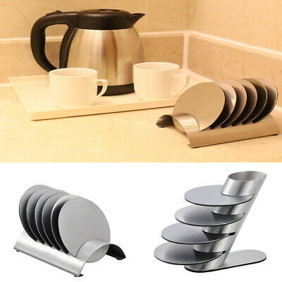 Stainless Steel Drink Coaster Set Heat-Proof for Home Hotel Bar Serving Tray