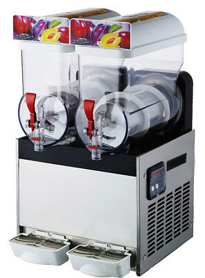 2Tank Frozen Drink Snow Slush Making Machine Commercial Smoothie Maker 110V USA