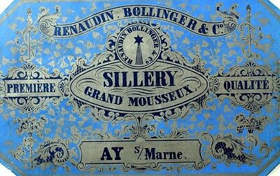 1870's-80's Sillery Grand Mousseux Renaudin Bollinger & Co Wine Bottle Label F99