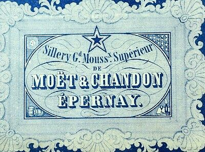 1870's-80's Moet & Chandon Epernay Sillery Mouss Wine Bottle Label Original F99